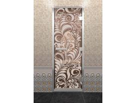 Дверь хамам с рисунком  Хохлома
