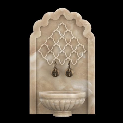 Арка из мрамора с отверстиями под краны для хамама. АМ11