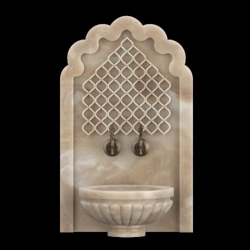 Арка из мрамора с отверстиями под краны для хамама, АМ12