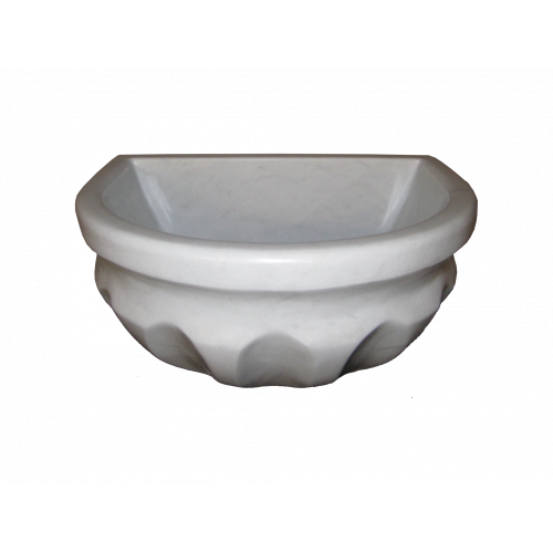 Мраморная  курна пристенная модель TSL4 для турецкой бани, хамам - бежевая,белая.