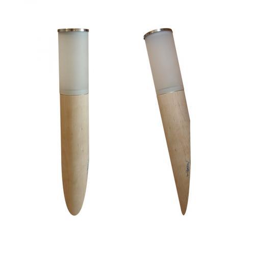 Светильник для бани и сауны Licht-2000 Torcia Vetra в форме факела и плафона из матового стекла.